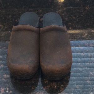Dansko brown nubuck leather clogs